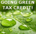 Tax Credit Going Green - Image of a Leaf and Water Droplets.